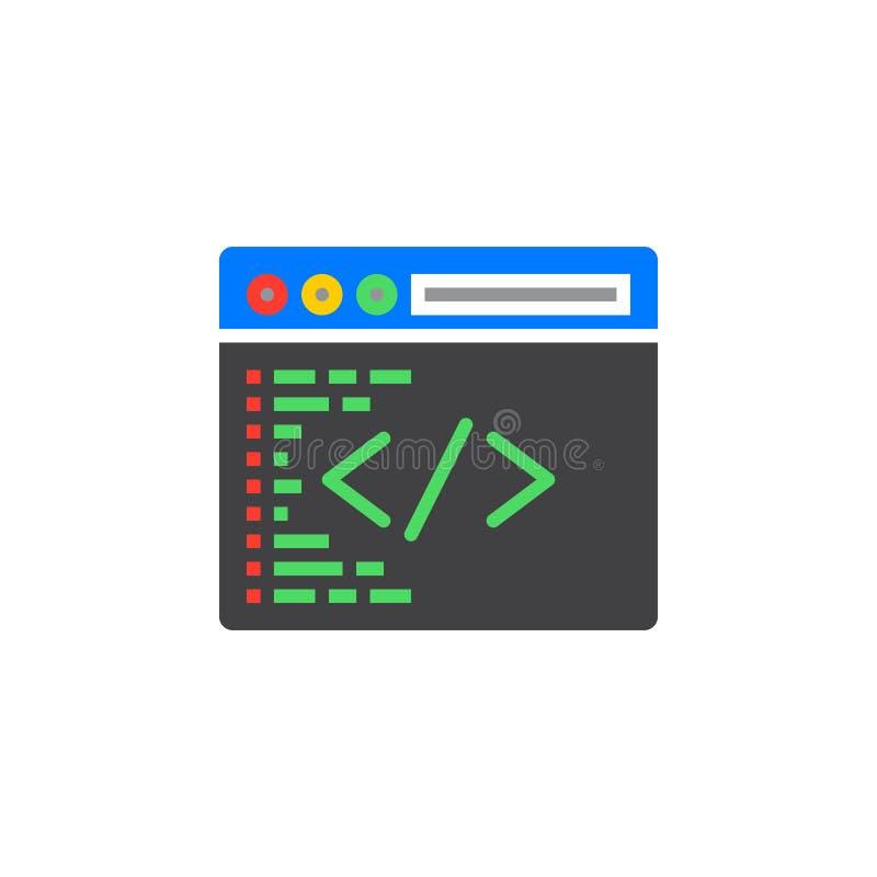 Symbole fait sur commande de codage Vecteur de programmation d'icône, signe plat rempli, illustration libre de droits