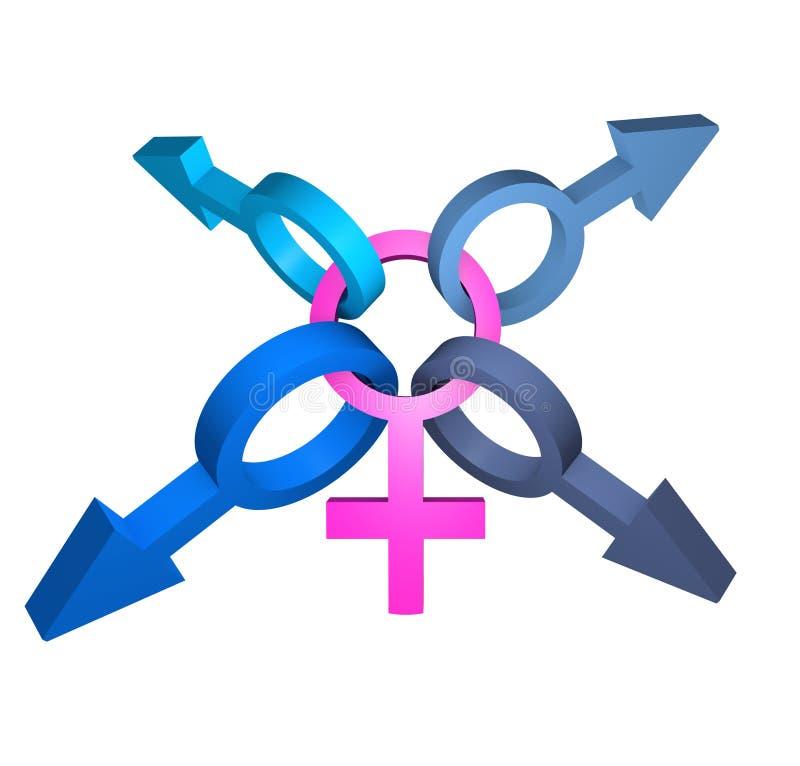 Symbole femelle avec beaucoup de symboles mâles illustration de vecteur
