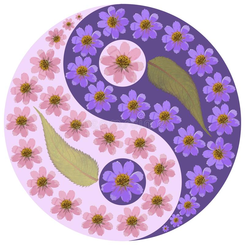 Symbole floral de Yin Yang illustration stock