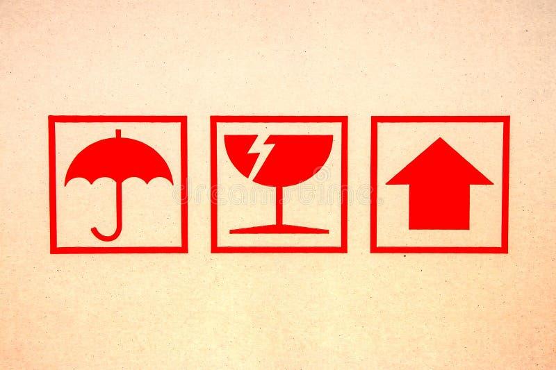 Symbole fragile rouge photos libres de droits