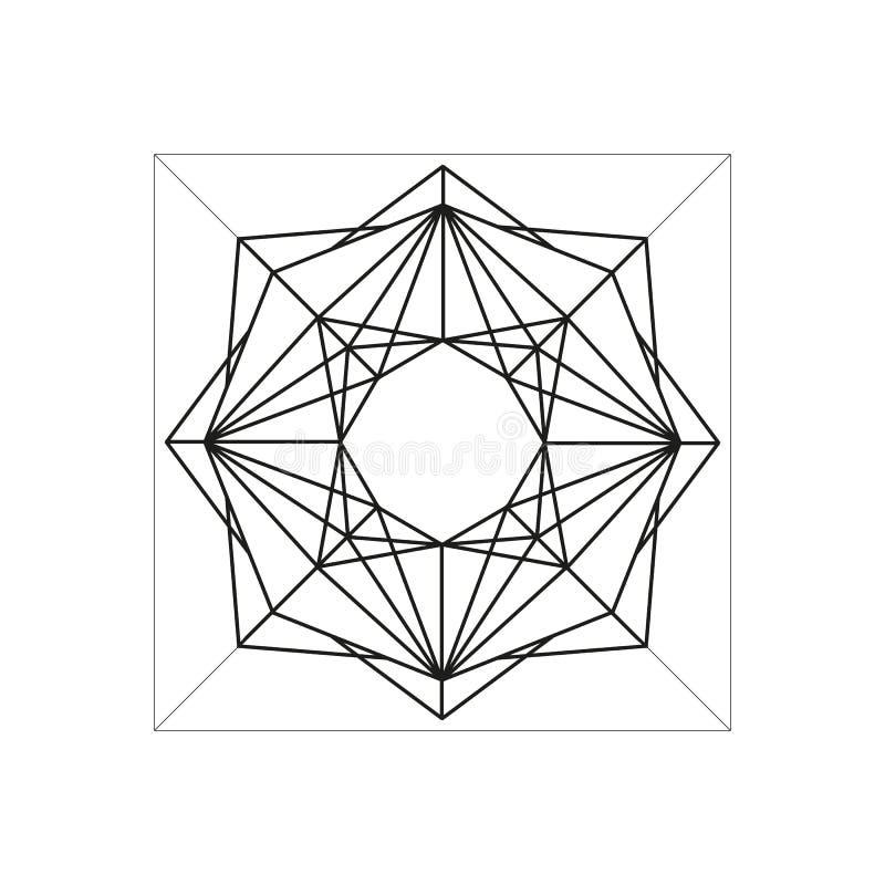 Symbole géométrique abstrait d'isolement sur le fond blanc illustration stock