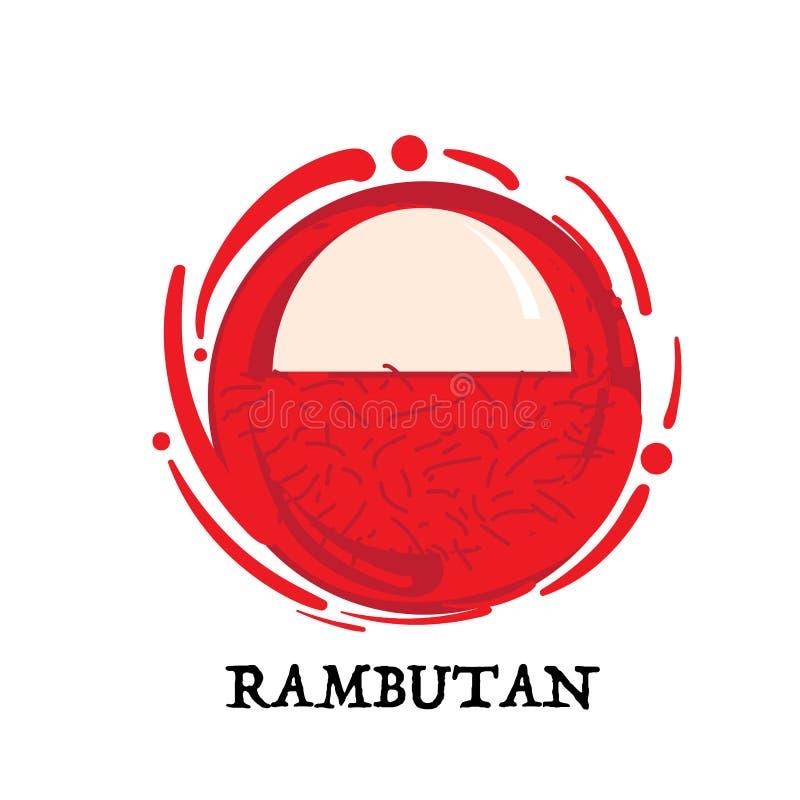 Symbole graphique d'icône de conception d'élément de ramboutan de fruit illustration de vecteur