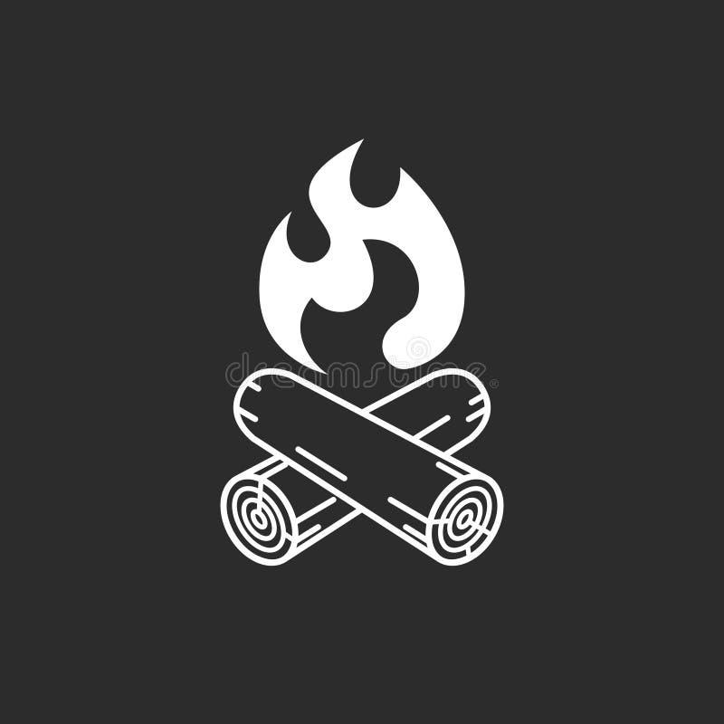Symbole graphique de feu de camp sur le fond noir illustration de vecteur