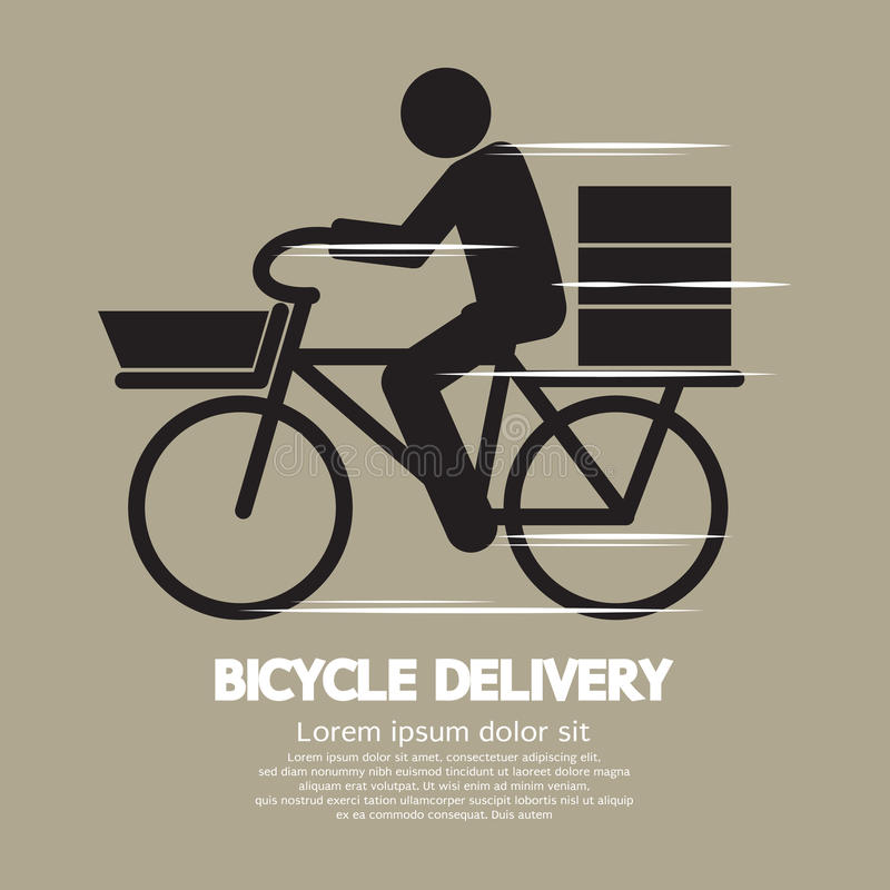 Symbole graphique de service de distribution de bicyclette illustration stock
