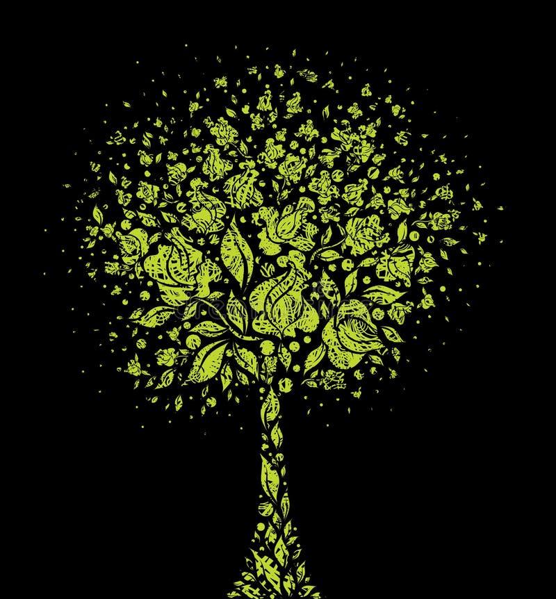Symbole grunge d'arbre des fleurs illustration de vecteur
