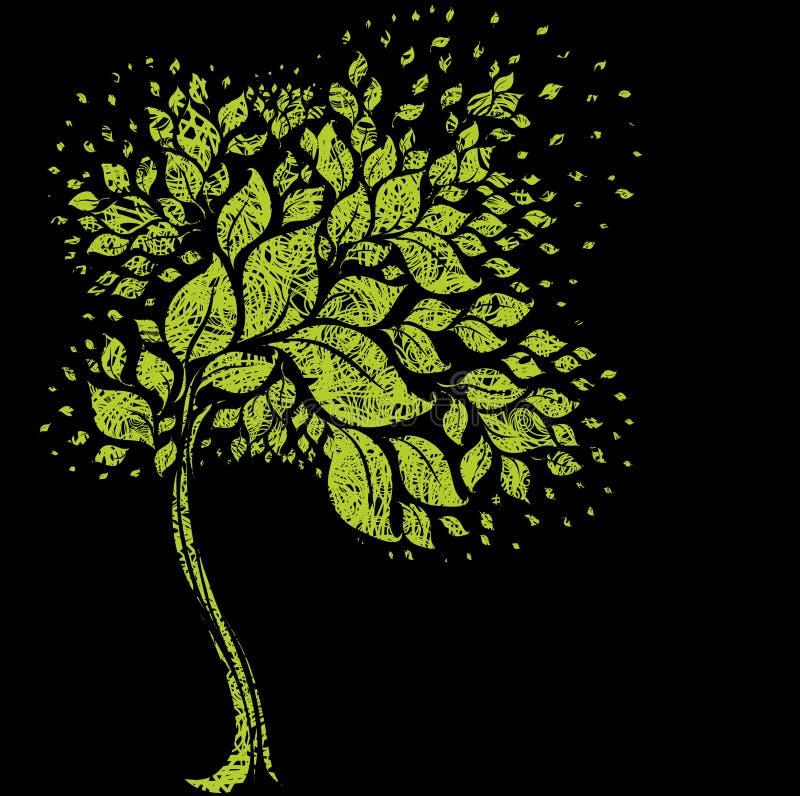 Symbole grunge d'arbre des lames colorées illustration stock