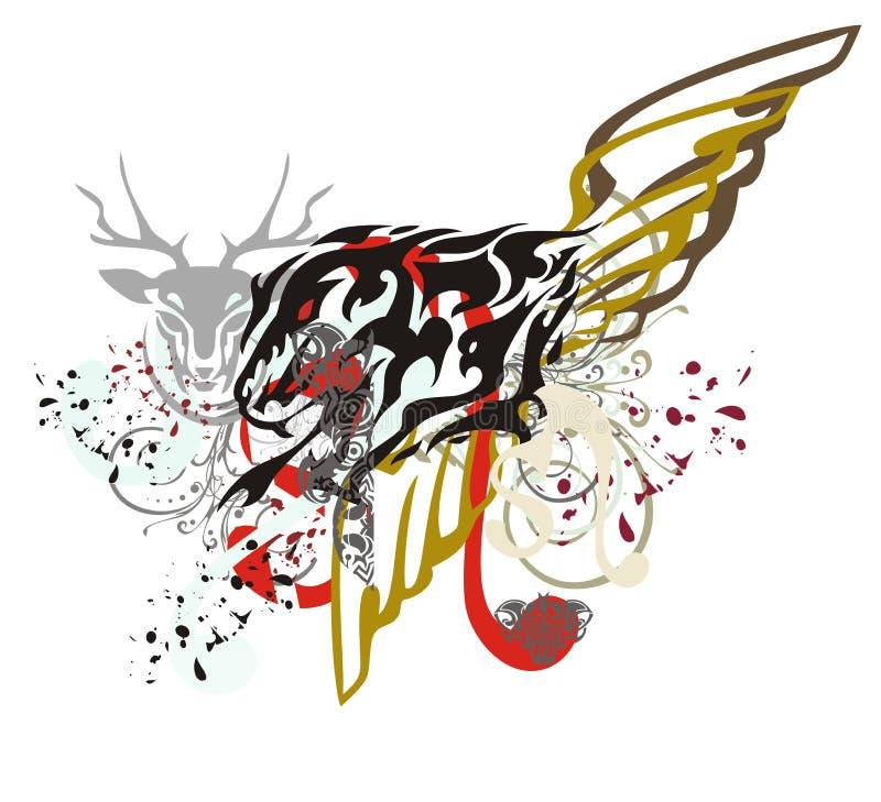 Symbole grunge de lion avec des baisses de sang illustration stock