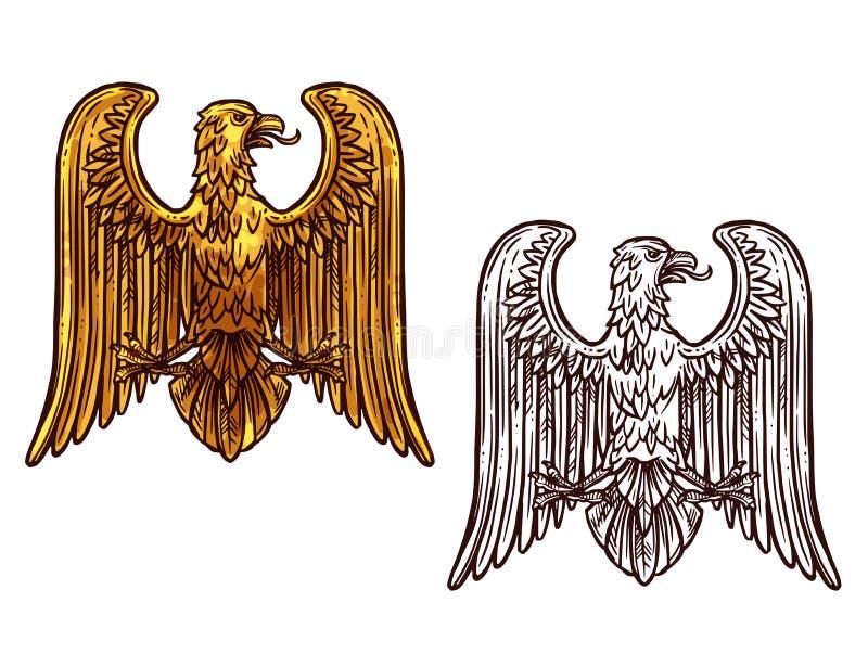 Symbole héraldique d'Eagle Croquis et oiseau d'or illustration de vecteur