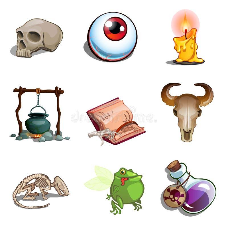 Symbole Halloween - czaszka istota ludzka i zwierzę, kumaka mutant, oko, garnek, książka czary, jad, świeczka, zredukowana ręka ilustracji