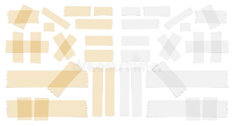 Symbole i taśma kawałki na białym tle różni wielkościowi kleistej, adhezyjnej, ilustracja wektor