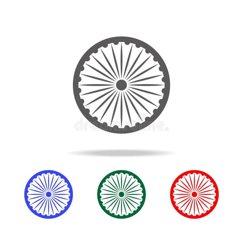 Symbole indien de roue d'Ashoka - icône d'Ashoka Chakra Éléments des icônes colorées multi de culture indienne Conception graphiq illustration stock