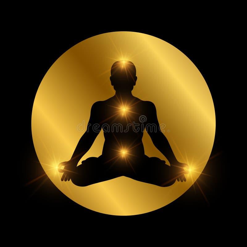 Symbole indien spirituel de chakra Silhouette d'homme de méditation avec les éléments brillants illustration libre de droits