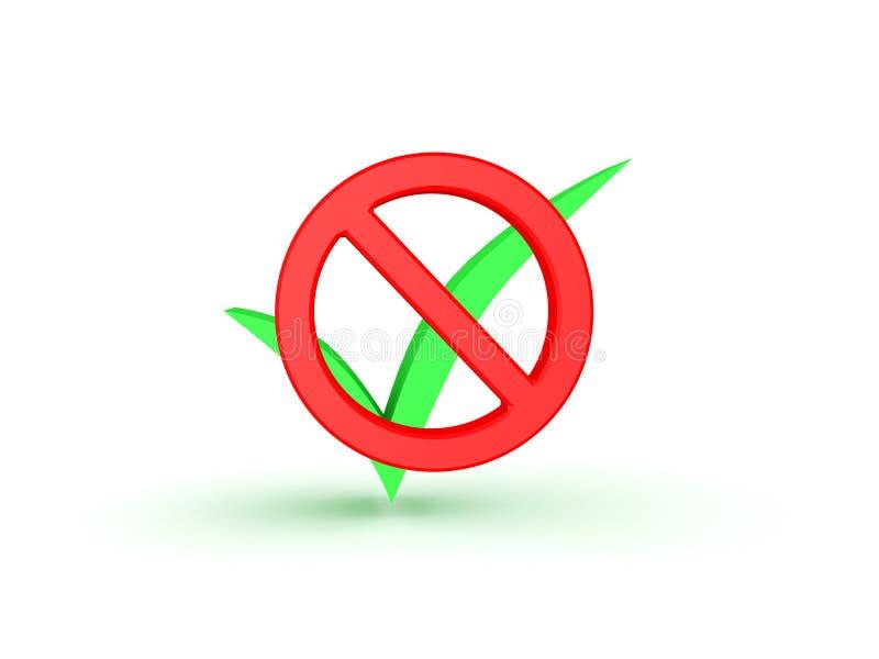 symbole interdit par 3D devant le coche vert illustration libre de droits