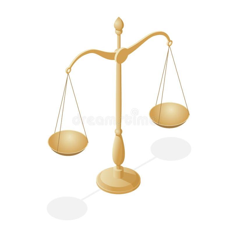 Symbole isométrique de loi et de justice, loi et justice, juridiques, jurisprudence Balance Cuvettes d'échelles dans l'équilibre, illustration libre de droits
