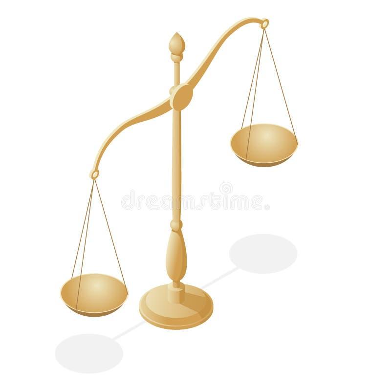 Symbole isométrique de loi et de justice, loi et justice, juridiques, jurisprudence Balance Cuvettes d'échelles dans l'équilibre, illustration stock