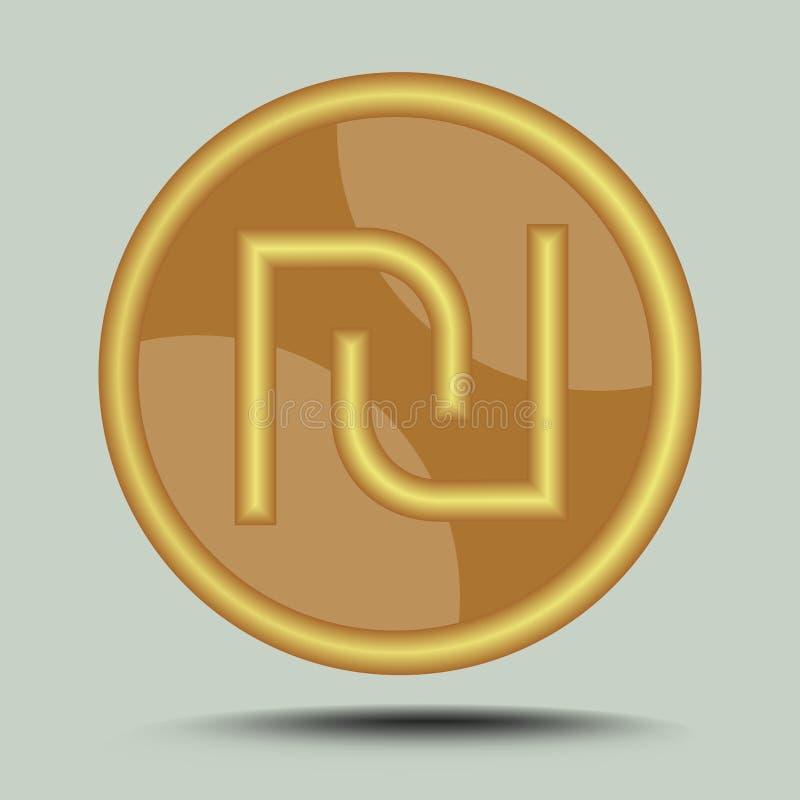Symbole israélien de shekel de devise dans la conception métallique d'or de cercle d'isolement sur le fond gris avec l'ombre illustration stock