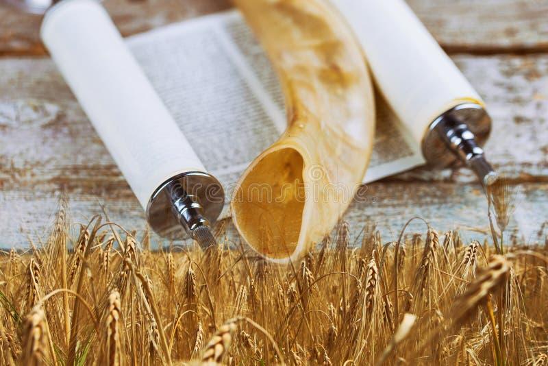 Symbole j?dischen Feiertag Shavuot-torah und des h?lzernen Hintergrundes des Shofar stockbild