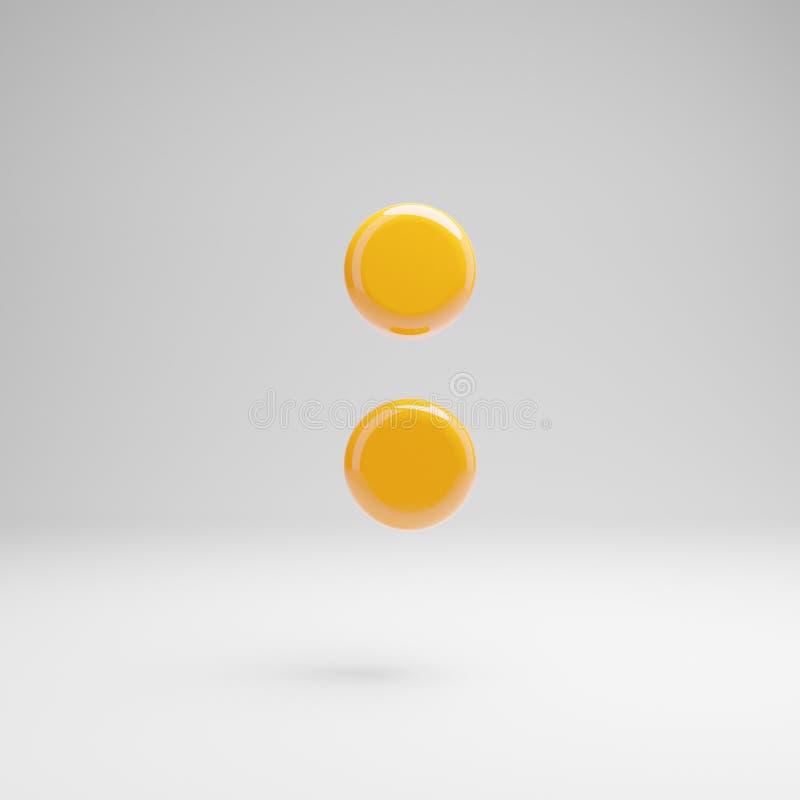 Symbole jaune brillant de deux points d'isolement sur le fond blanc illustration de vecteur