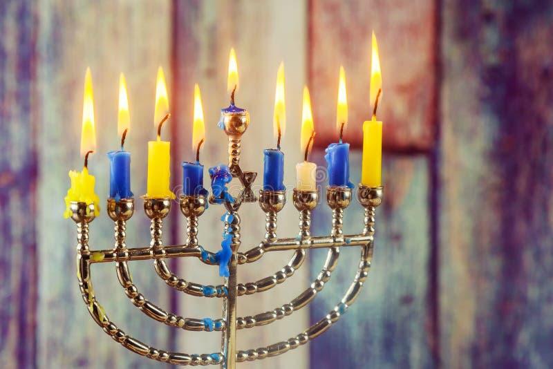 symbole juif Hanoucca, vacances juives le festival des lumières image libre de droits
