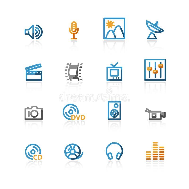 symbole konturowe medialnych ilustracja wektor