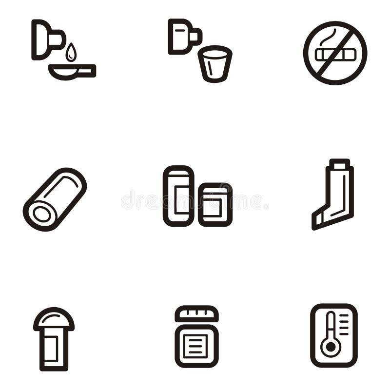 symbole leków szereg równiny ilustracji