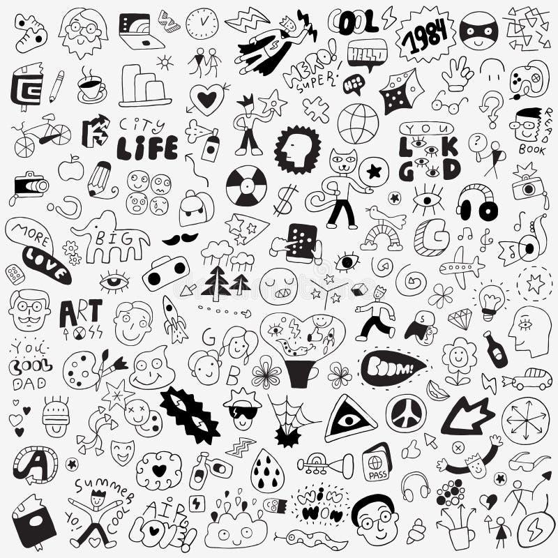 Symbole, literowanie, charaktery - duży doodle set, projektów elementy royalty ilustracja