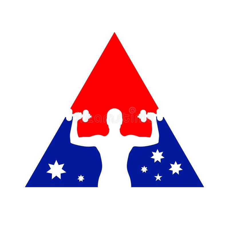 Symbole Logo Design de gymnase de forme physique de drapeau national illustration de vecteur