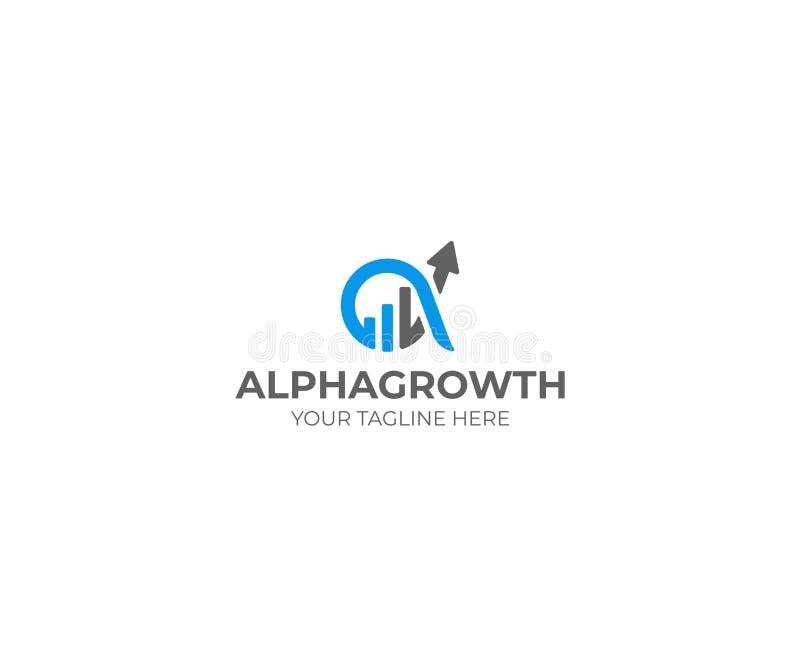 Symbole Logo Template d'alpha et de croissance Diagramme de graphique et conception de vecteur d'alpha illustration libre de droits
