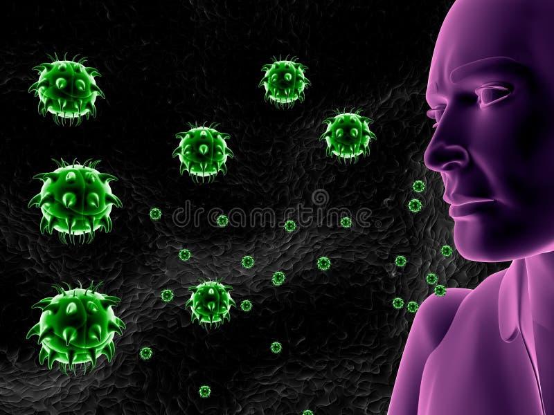 Symbole médical d'infection humaine de virus illustration de vecteur