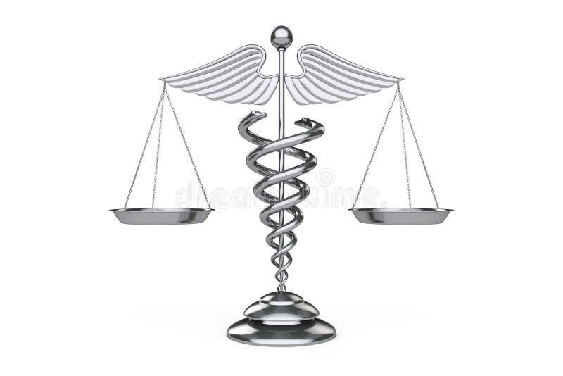Symbole médical de caducée en tant qu'échelles rendu 3d illustration de vecteur
