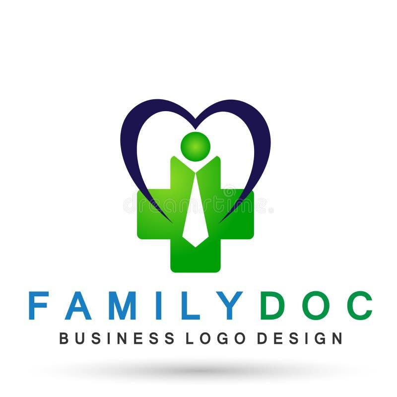 Symbole médical de santé de bien-être d'icône de logo de médecin de famille de santé de soin de coeur sur le fond blanc illustration libre de droits