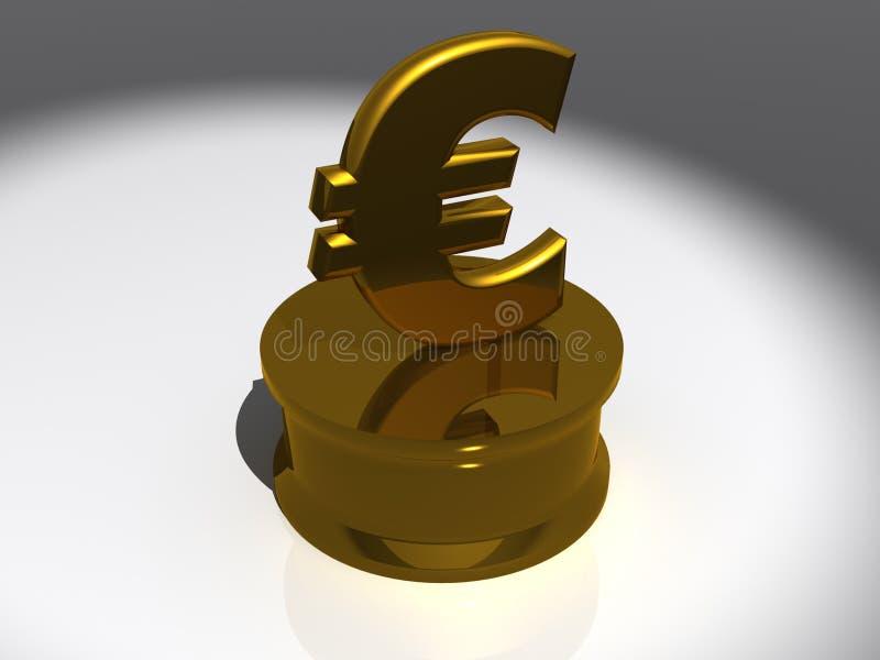 Symbole métallique d'euro d'or illustration libre de droits