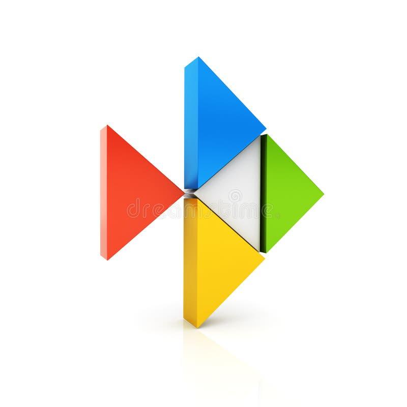 Symbole métallique de couleur abstraite avec la forme et les triangles de poissons illustration de vecteur