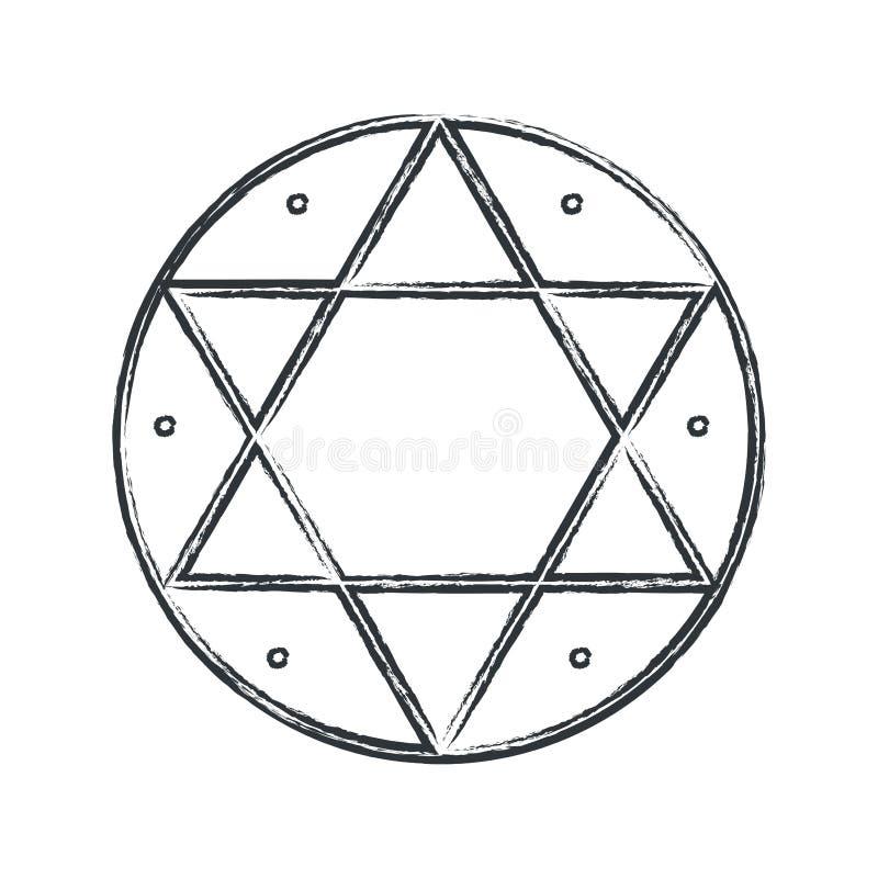 Symbole magique de vecteur : Hexagram, joint de Solomon illustration de vecteur