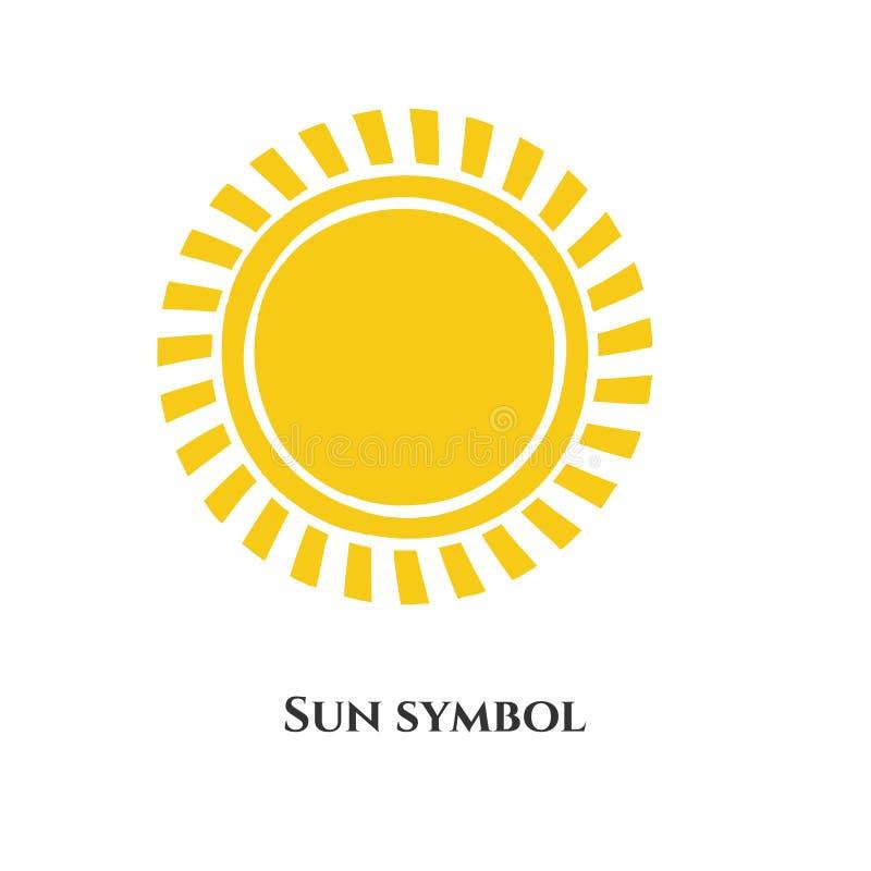 Symbole manuscrit d'icône du soleil Illustration de vecteur pour la conception illustration stock