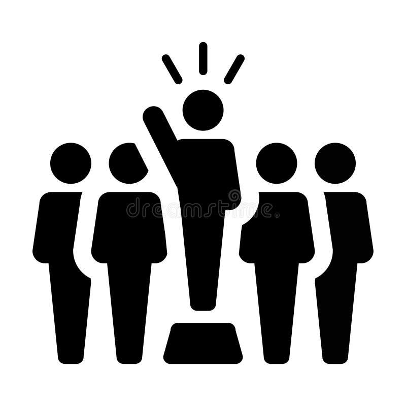 Symbole masculin de personne de conférencier de vecteur d'Icon du Chef pour la direction avec la main augmentée dans le pictogram illustration libre de droits