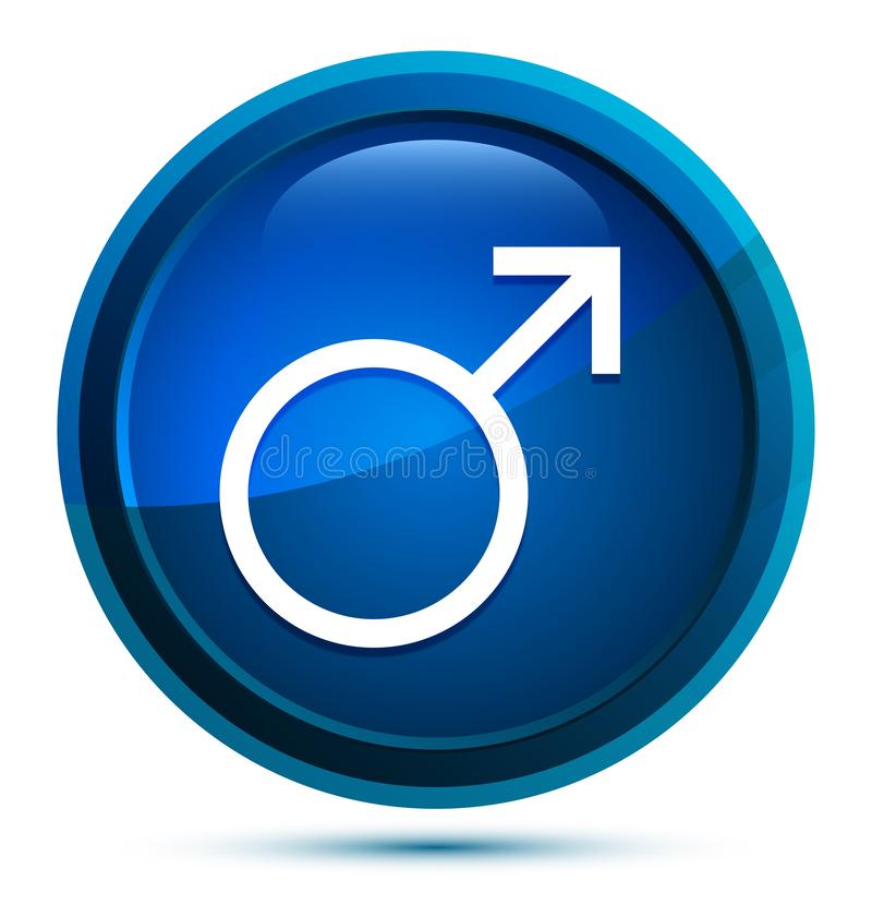 Symbole masculin icône élégante bouton bleu arrondi illustration illustration de vecteur