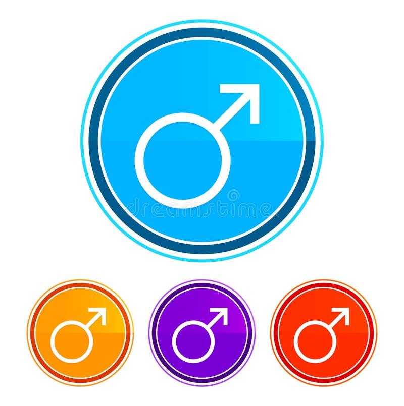 Symbole masculin icône de conception plate boutons ronds de conception définition de l'illustration illustration stock