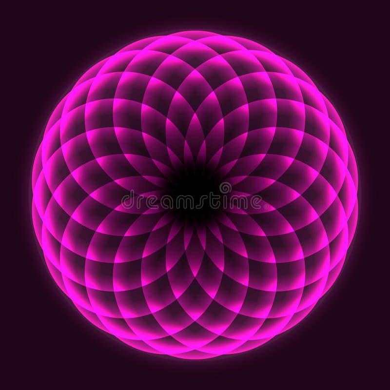 Symbole mathématique Design Mandala Fleur de la vie Géométrie sacrée Plan des cercles rotatifs Équilibre et harmonie illustration libre de droits