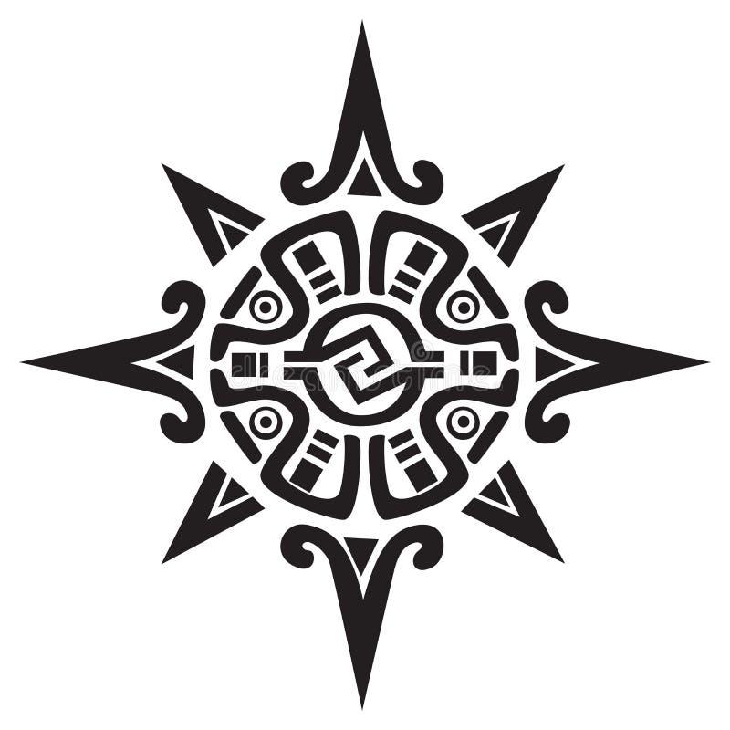 Symbole maya ou inca d'un soleil ou d'une étoile illustration de vecteur