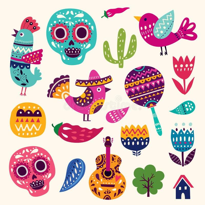 Symbole Meksyk ilustracja wektor