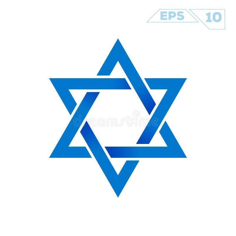 Symbole minimaliste plat d'étoile de David illustration de vecteur