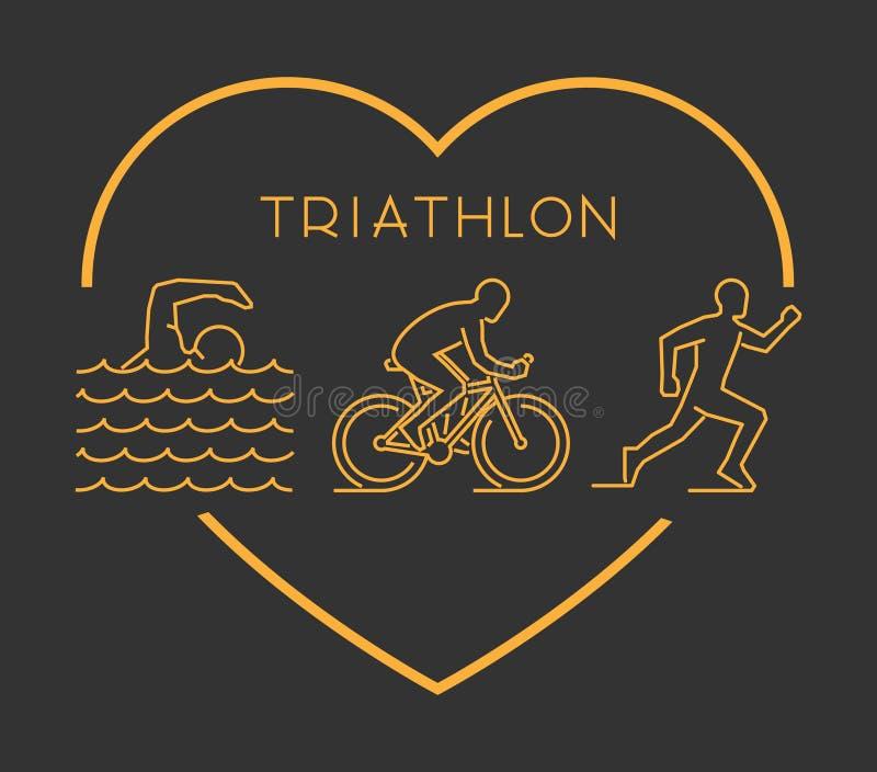 Symbole moderne de triathlon d'ensemble illustration stock