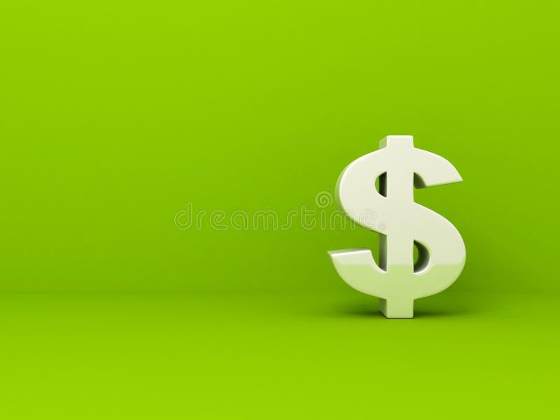 Symbole monétaire blanc du dollar sur le fond vert illustration libre de droits