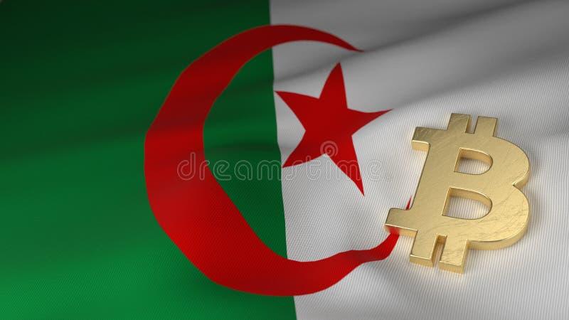 Symbole monétaire de Bitcoin sur le drapeau de l'Algérie image stock