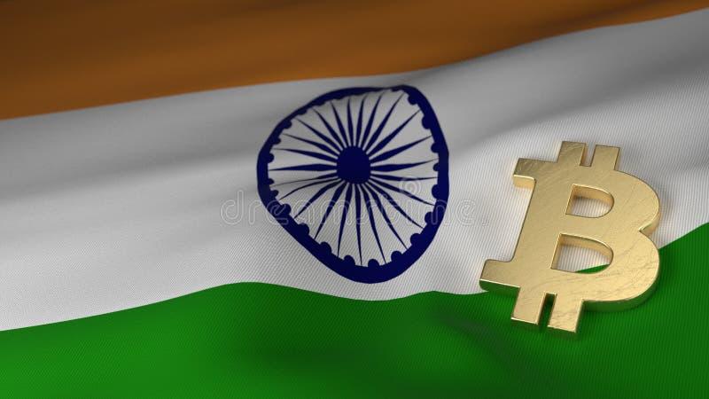 Symbole monétaire de Bitcoin sur le drapeau de l'Inde illustration de vecteur