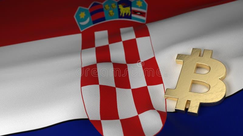 Symbole monétaire de Bitcoin sur le drapeau de la Croatie illustration stock