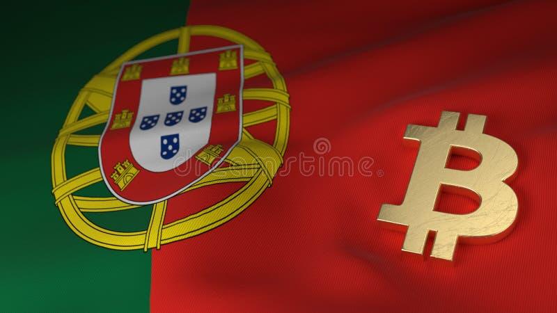 Symbole monétaire de Bitcoin sur le drapeau du Portugal illustration libre de droits