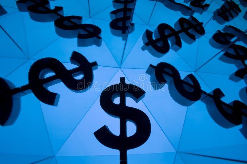 Symbole monétaire du dollar avec beaucoup d'images reflétantes image stock