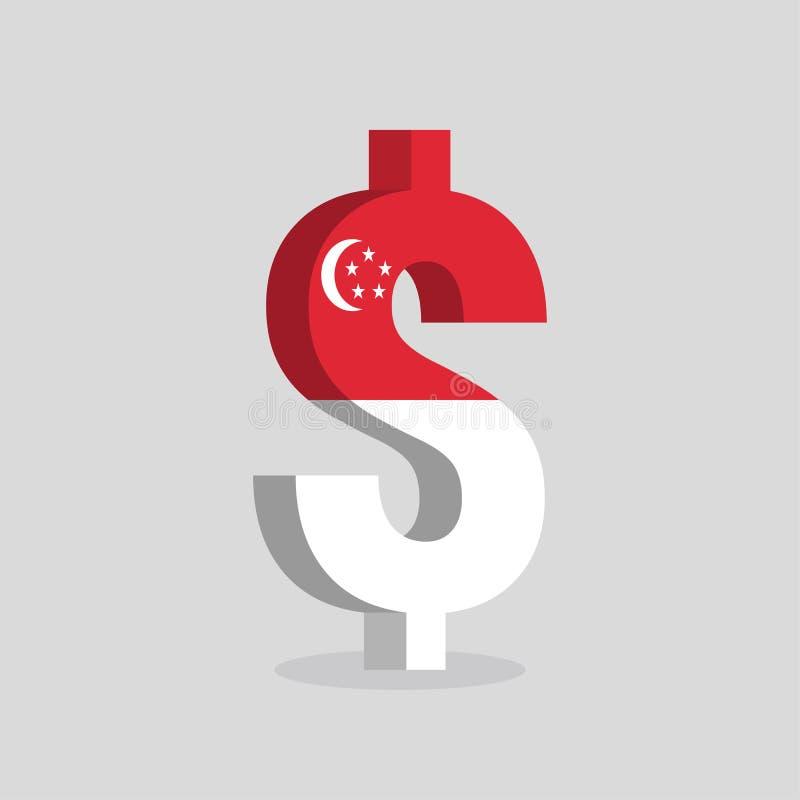 Symbole monétaire du dollar de Singapour avec le drapeau de Singapour illustration libre de droits